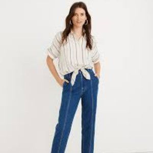 Madewell Sz M Tie-Front Button Top